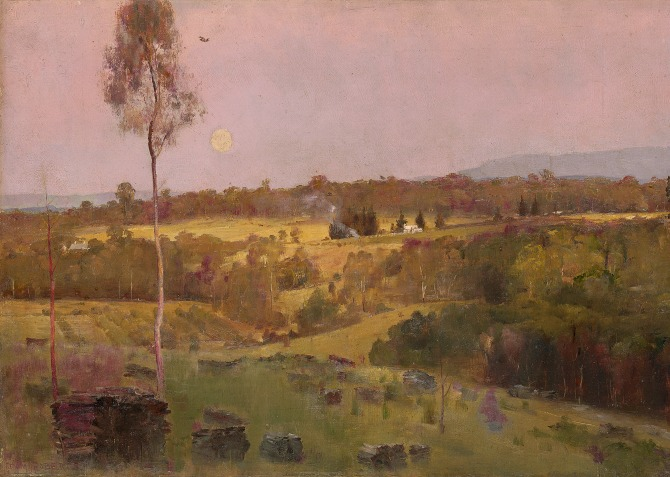 'Evening, when the quiet east flushes faintly at the sun's last look', Tom Roberts, c 1887, oil on canvas 50.8 x 76.2. National Gallery of Victoria, Melbourne. W.H. Short Bequest, 1944. Courtesy of the NGA.