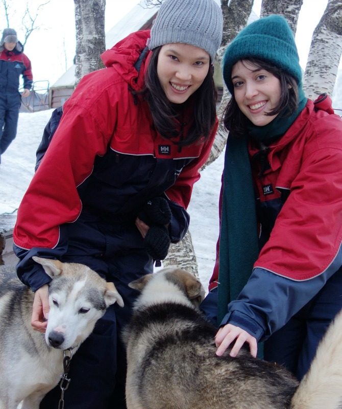 Katherine Quinn and Liz with sled dogs in Tromso