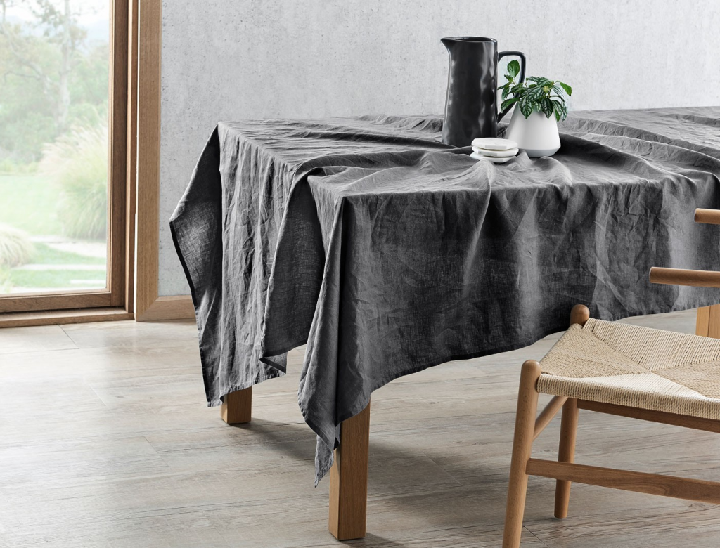 Get the look: Milano linen tablecloth in grey from Bed Bath 'N Table, $119.