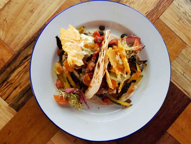 Meadow's Taco – salsa fresca, turtle beans, charred bell pepper, avocado and parmesan crisps on tortillas. Image: Facebook.