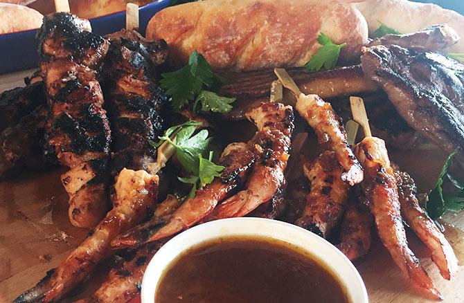 Miso Chicken Thighs, Ginger and Garlic Prawn Skewer & Grilled Sirloin Steak
