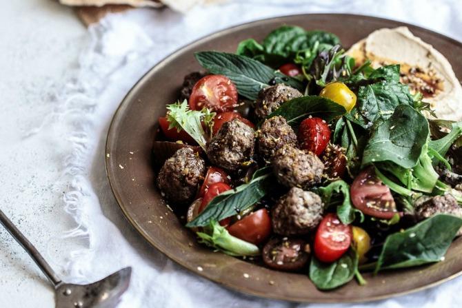 Recipe: Sumac Lamb Koftas with Smoked Eggplant, Hummus & Tomato