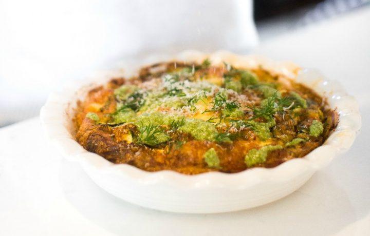 Recipe: Leek, zucchini and buffalomozzarella frittata